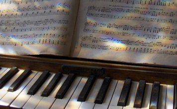 Music notes on sheet music above a piano